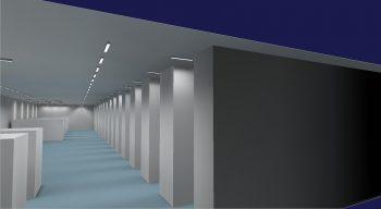 Lichtplanung Industriehalle 3D Seitenansicht