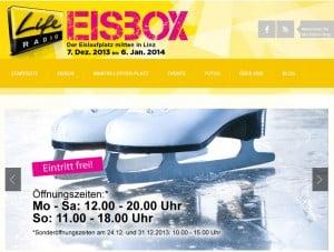 Homepage Eisbox Linz im neuen Design 2013