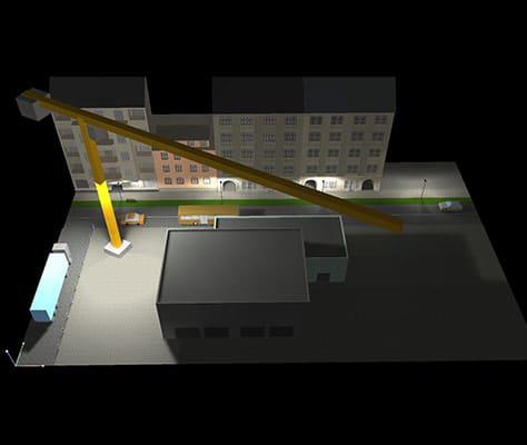 Lichtberechnung HQI Turmdrehkran - Baustelle