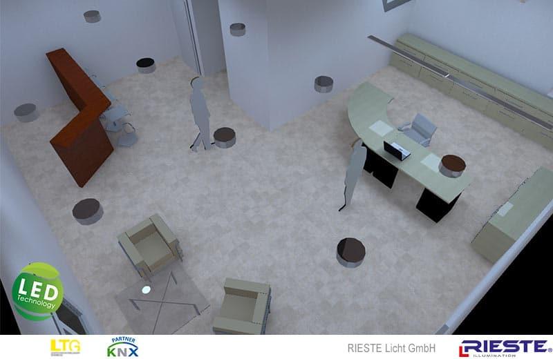 Visualisierung Bürogebäude, Eingangsbereich