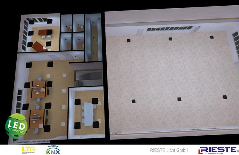 Visualisierung Bürobeleuchtung Obergeschoss