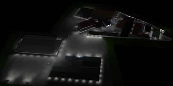 Flutlichtbeleuchtung Industrieanlage mit Gasentladungslampe