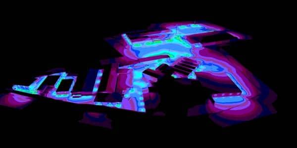 Helligkeitsdarstellung der aktuellen HQI Beleuchtung